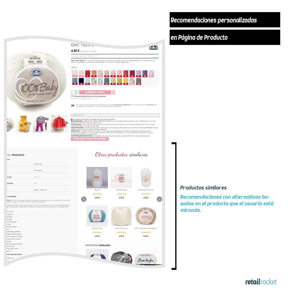 Página de producto recomendaciones