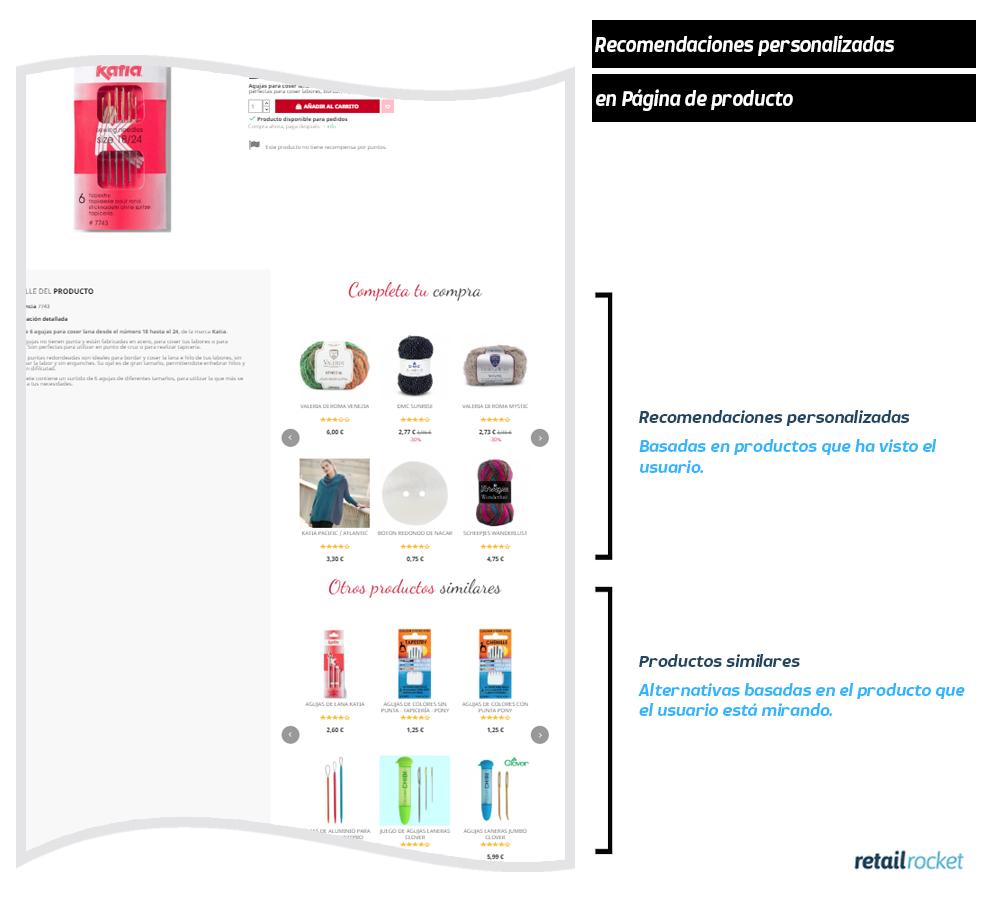 Pagina de producto recomendaciones
